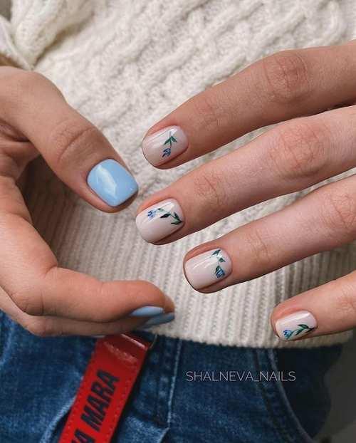 Blue spring manicure