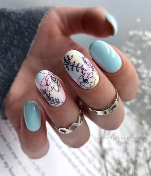Oval spring nail design