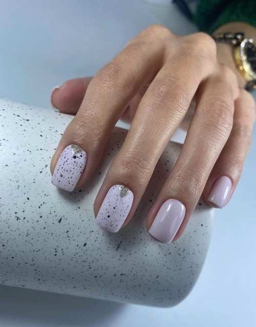 Sequins with lilac spring nail color