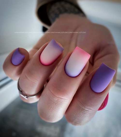 Milky with lilac gradient spring nails