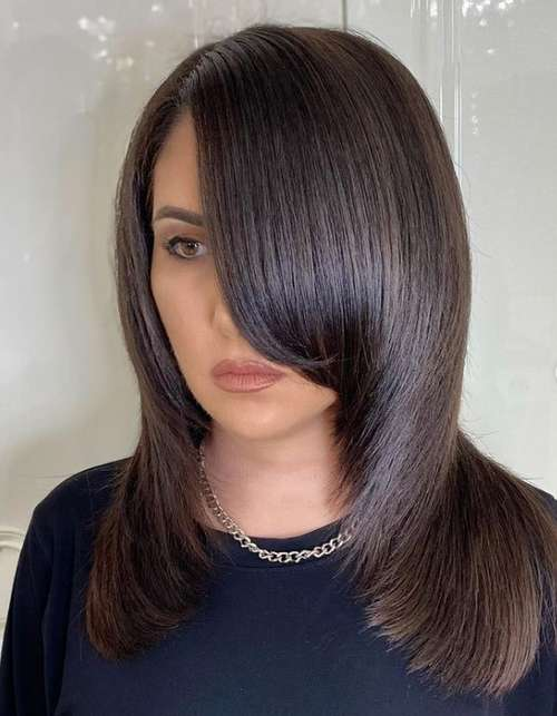 Haircut ladder with bangs