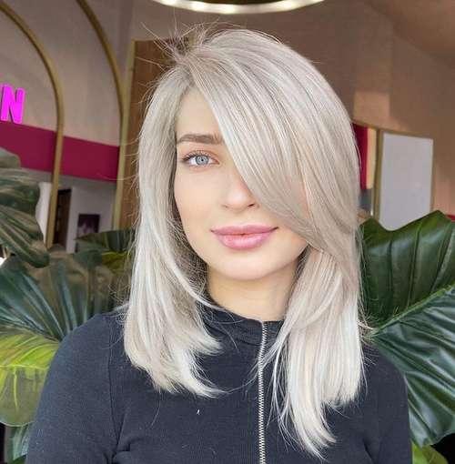 Fashionable blonde haircut