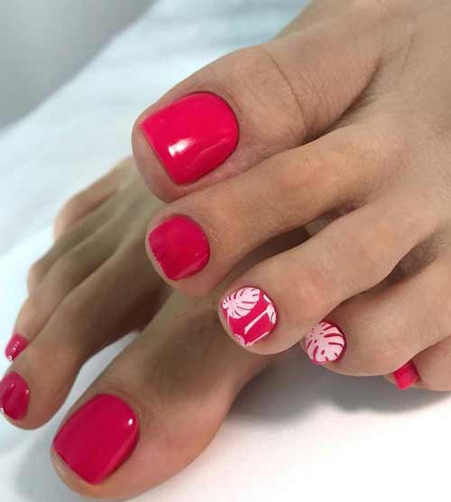 Red pedicure summer