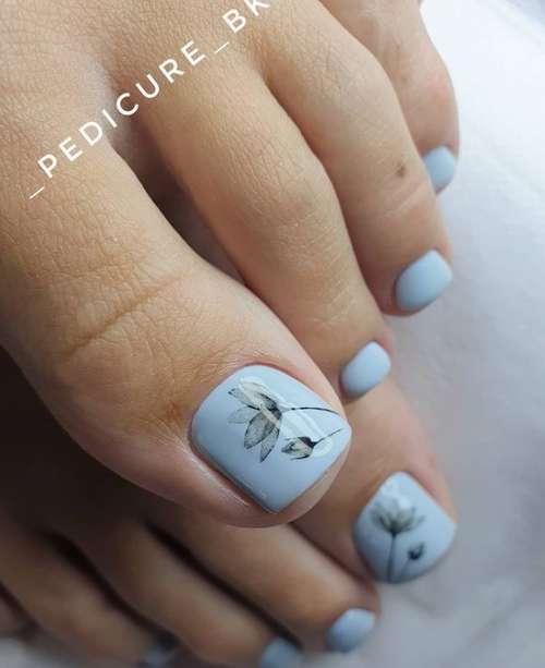 Blue pedicure design