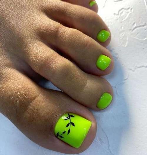 Neon green pedicure
