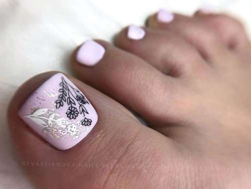Matte pink pedicure