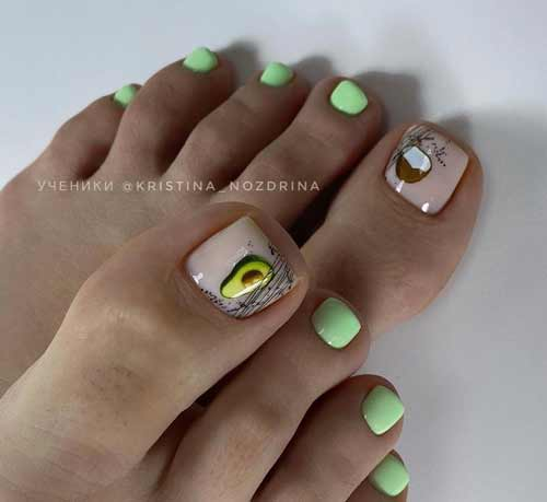 Summer pedicure with fruits