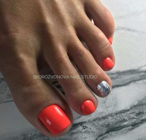 Bright red pedicure summer