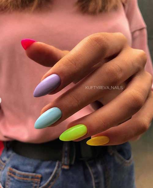 Multicolored manicure with blue