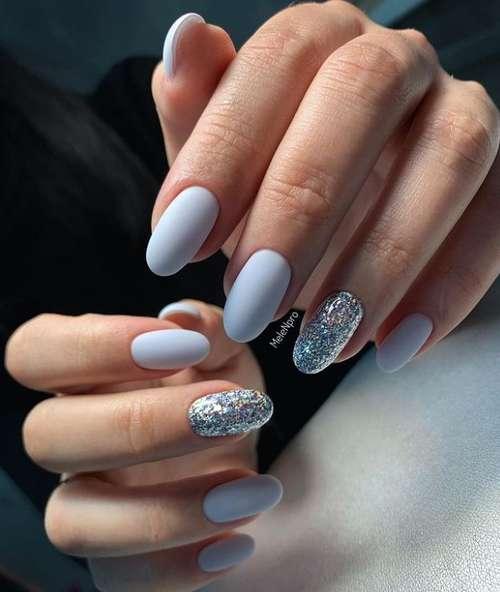 Gray-blue matte manicure
