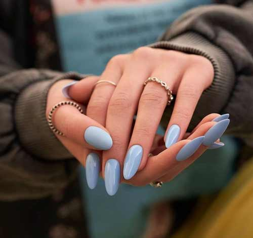 Blue manicure design photo