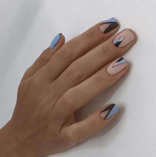 Blue manicure for short nails