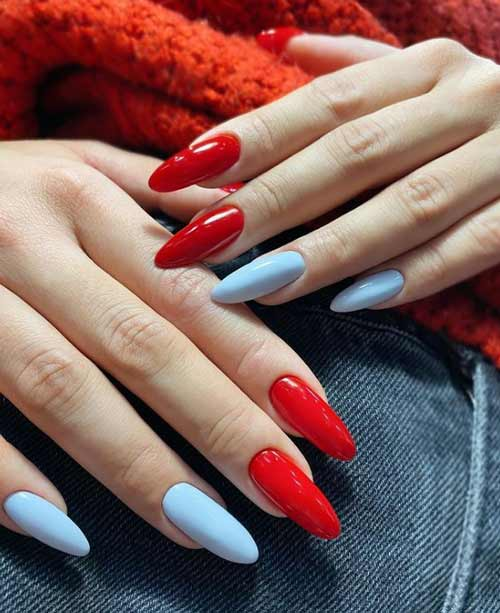 Red and blue manicure
