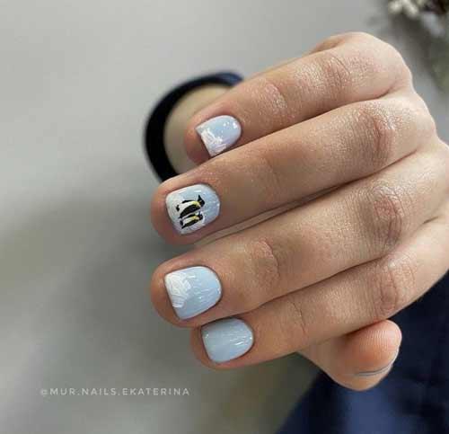 Very short blue manicure photo