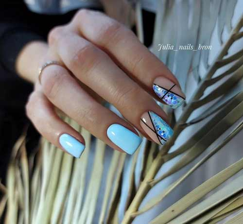 Blue color manicure with design