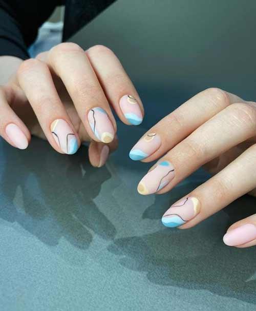 Korean style blue manicure