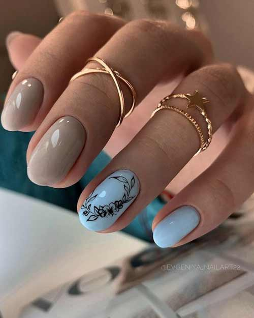 Beige and blue manicure