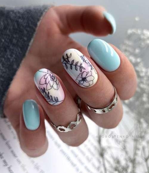 Manicure in blue tones