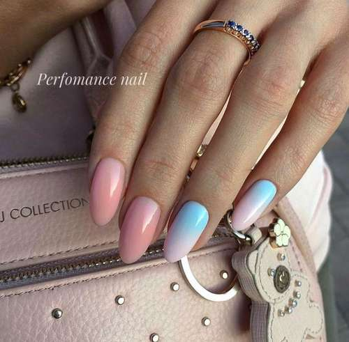 Pink-blue gradient on nails