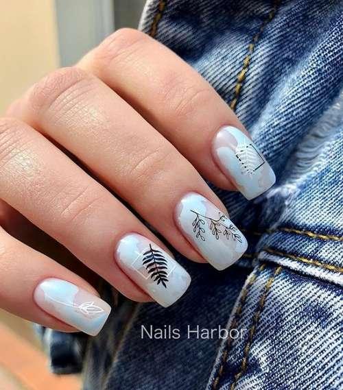 Spring manicure in blue tones