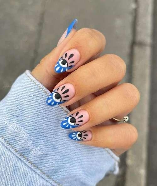 Blue manicure korean design