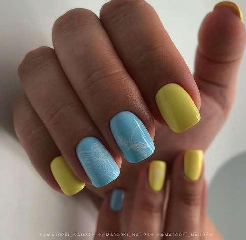 Spring blue nail design