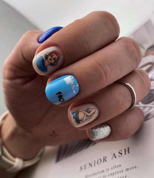 Blue and blue manicure design