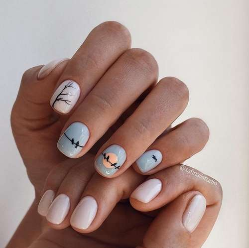 Blue with beige manicure