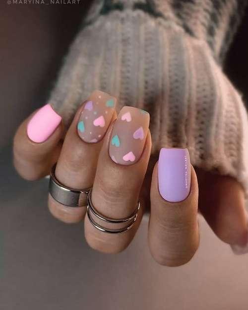 Pastel two color manicure