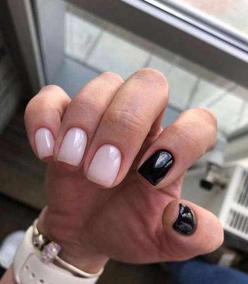 Beige and black two-tone without design manicure