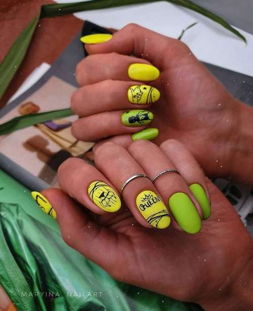 Neon green with yellow manicure