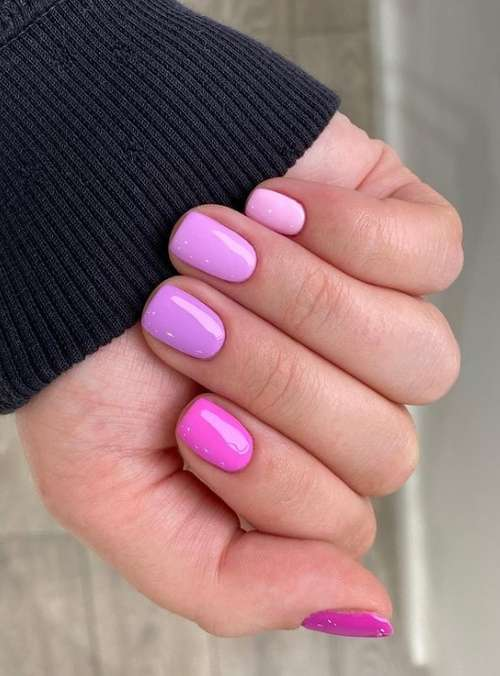 Pink solid color manicure two colors