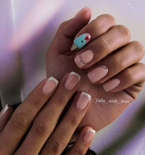 Two-color nail design different hands