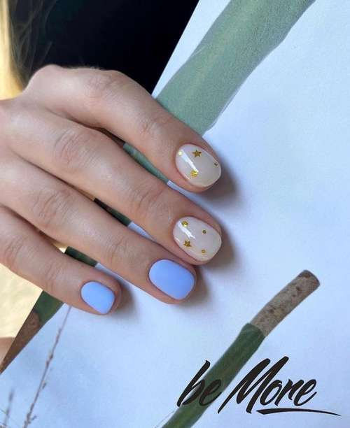 Two-tone manicure with foil design