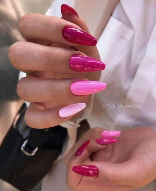 Red with pink manicure