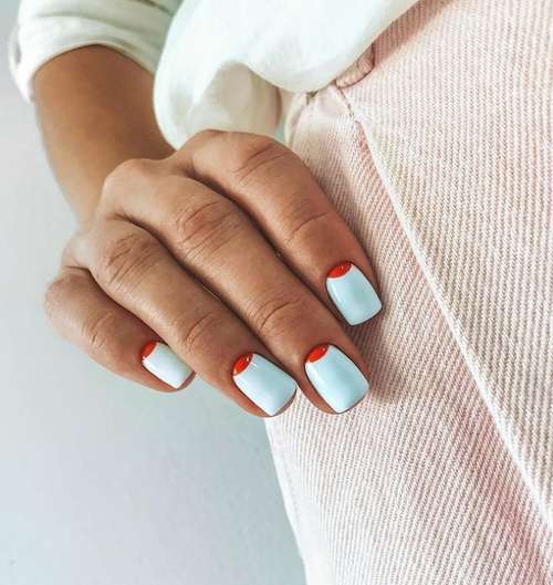 Two-tone moon manicure