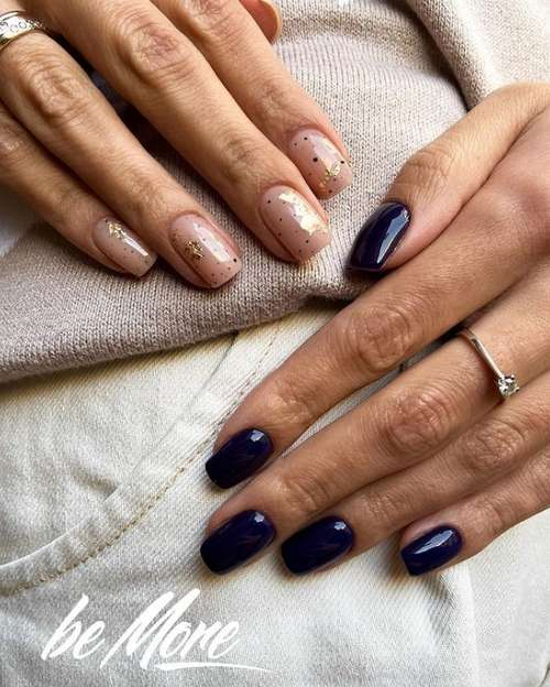 Blue with beige manicure different hands