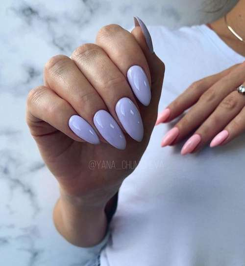 Different color manicure on hands