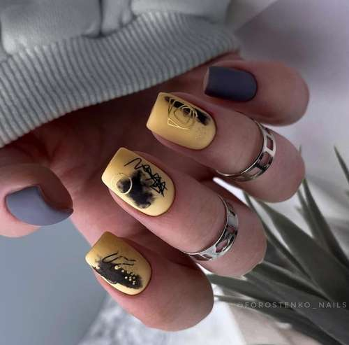 Yellow two-tone manicure