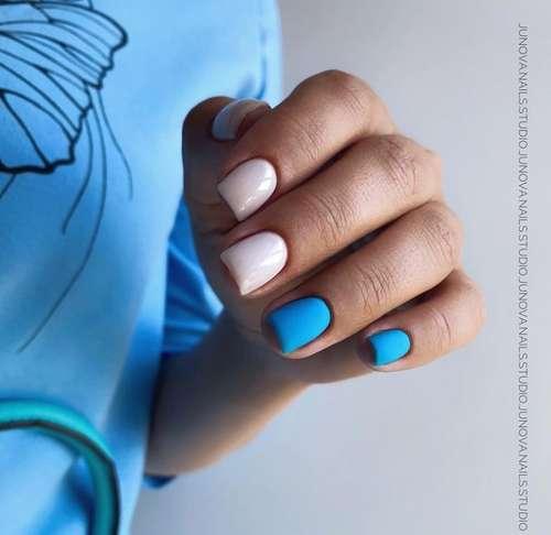 Emerald with beige manicure