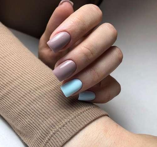 Two-tone pastel manicure