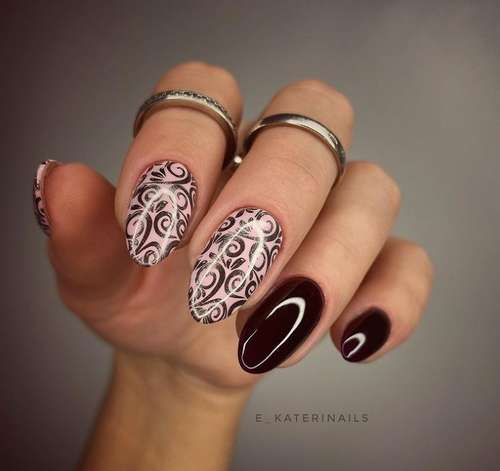 Burgundy two color manicure