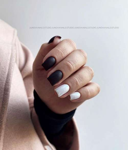 Black and white classic manicure