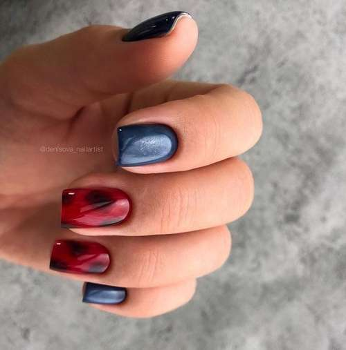 Two-tone red and blue manicure