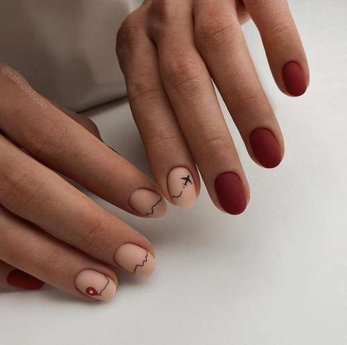 Two-tone red-pink manicure