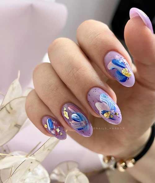 Lilac manicure design photo