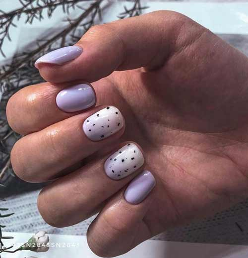 Lilac manicure with specks