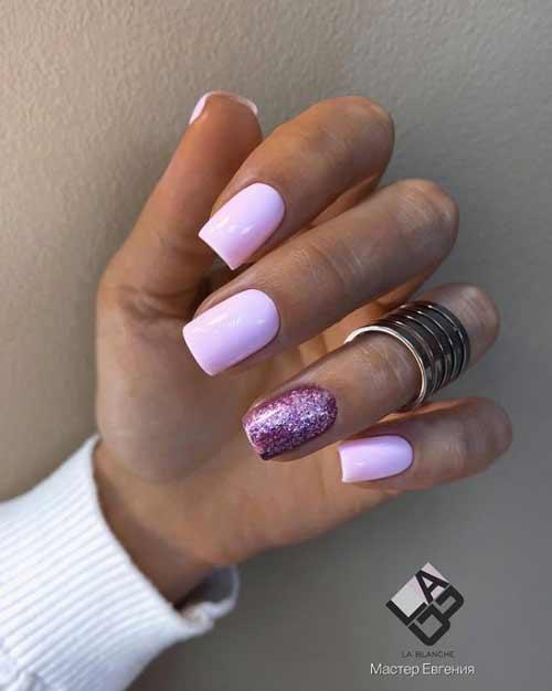 Lilac glitter manicure