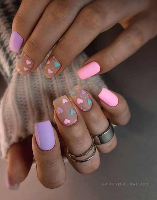 Lilac with pink manicure