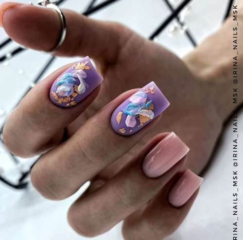 Lilac manicure with beige